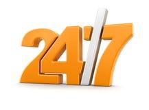 24/7 signe (chemin de coupure inclus) Image stock