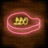 Signe coloré au néon de bar de barbecue illustration de vecteur