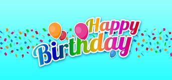 Signe coloré de joyeux anniversaire avec des ballons au-dessus des confettis Photo libre de droits