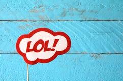 Signe comique des textes de bulle de LOL rétro photographie stock