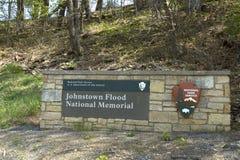 Signe commémoratif national d'inondation de Johnstown Photographie stock libre de droits