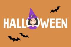 Signe conceptuel de Halloween Sorcière et silhouettes noires des battes Image stock