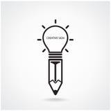 Signe créatif d'ampoule et de crayon Photographie stock