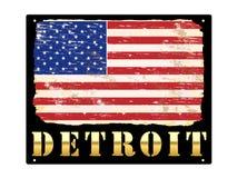 Signe d'émail de Detroit d'or Image stock