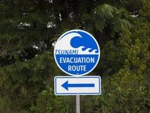Signe d'évacuation de tsunami Photos stock