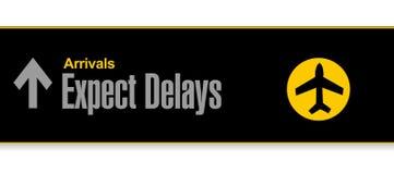 Signe d'aéroport attendez-vous à la conception d'illustration de retards Image libre de droits