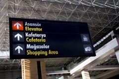 Signe d'aéroport de cafétéria, ascenseur, faisant des emplettes Image stock