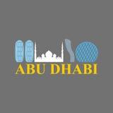 Signe d'Abu Dhabi Vue EAU Gratte-ciel et une mosquée Vecteur plat Images stock