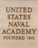 Signe d'Académie Navale images stock