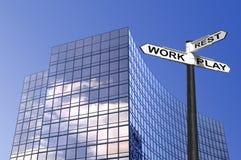 Signe d'affaires de travail-repos et de pièce Photo stock