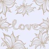 Signe d'amour avec des fleurs Illustration tirée par la main Illustration Libre de Droits