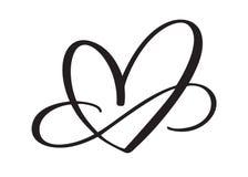 Signe d'amour de coeur pour toujours Le symbole romantique d'infini lié, se joignent, passion et mariage Calibre pour le T-shirt, illustration de vecteur