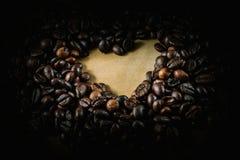 Signe d'amour de grains de café Image libre de droits