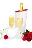 Signe d'amour et vin de champagne Photographie stock libre de droits
