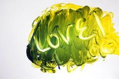 Signe d'amour gravé à l'eau-forte dans des couleurs de tourbillonnement Images stock