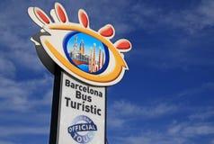 Signe d'arrêt d'autobus de l'autobus guidé officiel de Barcelone Photographie stock libre de droits