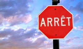 Signe d'arrêt de Français Image stock
