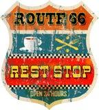 Signe d'arrêt de repos de Route 66 Images libres de droits