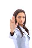 Signe d'arrêt de signalisation de femme de colère Photos libres de droits