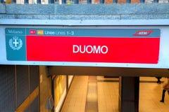 Signe d'arrêt de souterrain de Duomo Photos libres de droits
