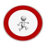 Signe d'arrêt - l'homme 3D blanc sur le signe d'arrêt marche illustration libre de droits