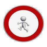 Signe d'arrêt - l'homme 3D blanc sur le signe d'arrêt marche illustration stock