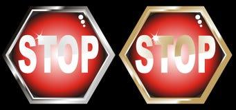 Signe d'arrêt d'or et d'argent d'illustration de vecteur Photos stock