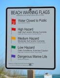 Signe d'avertissement d'indicateurs de plage Photo stock