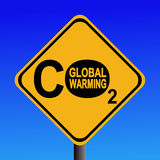 Signe d'avertissement d'émissions de CO2 Images libres de droits