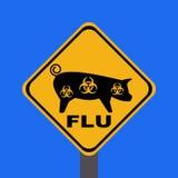 Signe d'avertissement de grippe de porcs Images libres de droits
