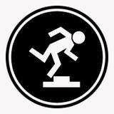 Signe d'avertissement de logo avec la personne de trébuchement en raison du seuil illustration stock