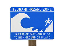 Signe d'avertissement de zone de tsunami Photo stock