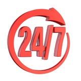24/7 signe 3D de flèche de cercle Illustration de Vecteur