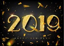 signe d'or de la nouvelle année 2019 avec le scintillement d'or sur le fond noir illustration d'an neuf de vecteur Drapeau d'an n illustration de vecteur