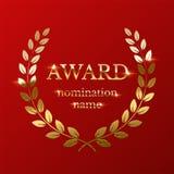 Signe d'or de récompense avec la guirlande de laurier d'isolement sur le fond rouge Illustration de vecteur illustration de vecteur