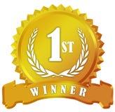 Signe d'or de récompense de gagnant Image stock