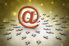 Signe d'email avec le pointeur de la souris Images stock