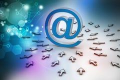 Signe d'email avec le pointeur de la souris Photographie stock libre de droits