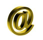 Signe d'email d'or d'isolement sur le fond blanc Photos libres de droits