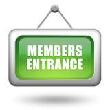 Signe d'entrée de membres Photo stock