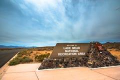 Signe d'entrée de Mead National Recreation Area de lac Image libre de droits