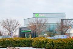 Signe d'extérieur de banque du TD une banque dix principale en Amérique du Nord photographie stock libre de droits