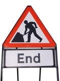 Signe d'extrémité de travaux routiers photo stock