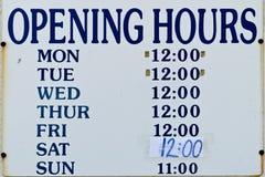 Signe d'heures d'ouverture Photo libre de droits