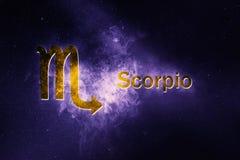 Signe d'horoscope de Scorpion Fond abstrait de ciel nocturne photos stock