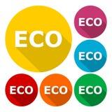 Signe d'icône d'Eco réglé avec la longue ombre Images libres de droits