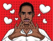 Signe d'illustration de bande dessinée d'amour dans le style comique d'art de bruit au-dessus du fond tramé de point Photos stock
