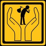 Signe d'immigration/phénomène des sans-abri Images libres de droits