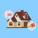 Signe d'immobiliers devant la nouvelle maison à vendre Image stock