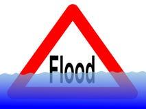 Signe d'inondation avec de l'eau illustration stock